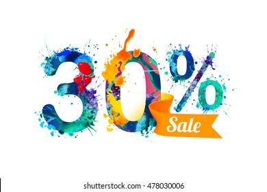 30 (thirty) percents sale. Watercolor vector splash paint