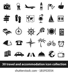 30 travel and accomodation icon collection