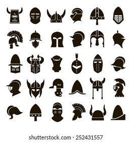 30 vector icons of black helmets of ancient warriors on a white background