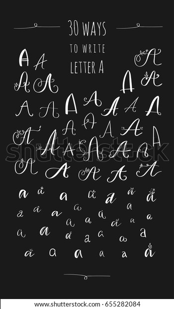 30 Ways Write Letter Vector Calligraphy Stock