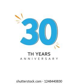 30 Year Anniversary Vector Template Design Illustration.