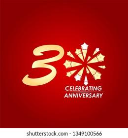 30 Year Celebrating Anniversary Vector Template Design Illustration