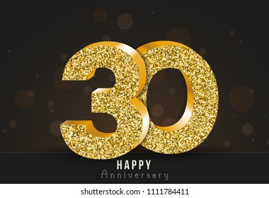 30 - year happy anniversary banner. 30th anniversary gold logo on dark background.