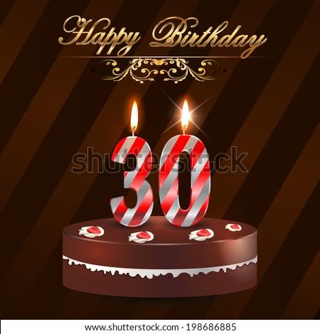 30 Year Happy Birthday Card Cake Stock Vector Royalty Free