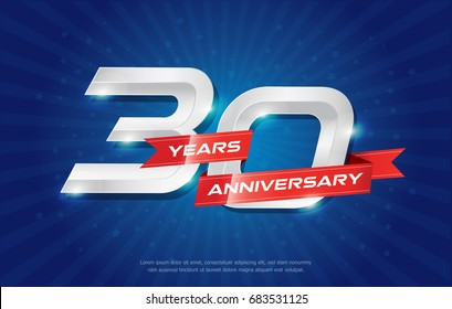 30 years anniversary background with red ribbon and star on blue background. celebrating logotype, poster or brochure template. Vector illustration