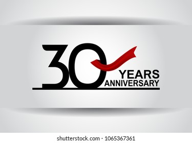 30 years anniversary black color simple design with red ribbon isolated on white background for celebration