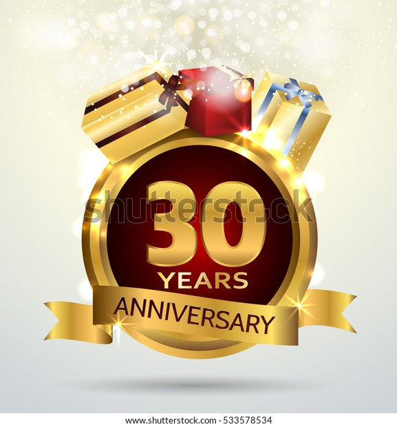 30 years anniversary celebration with Abstract background with many falling gold tiny confetti pieces.