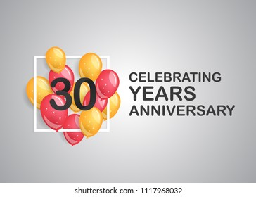 30 years anniversary celebration with balloons inside white square isolated on grey background