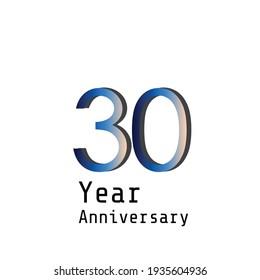 30 Years Anniversary Celebration Blue Color Vector Template Design Illustration