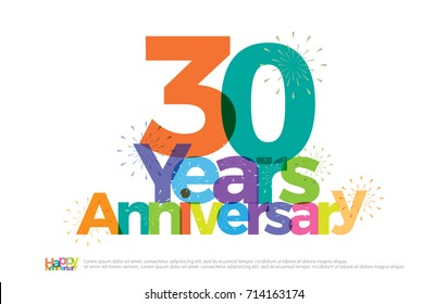 30 years anniversary celebration colorful logo with fireworks on white background. 30th anniversary logotype template design for banner, poster, card vector illustrator