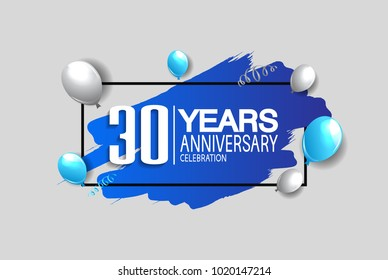 30 years anniversary celebration design with blue brush and balloons isolated on white background