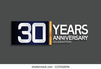 30 years anniversary celebration design with blue square and golden line isolated on gray background