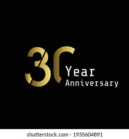 30 Years Anniversary Celebration Gold Black Background Color Vector Template Design Illustration