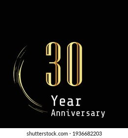 30 Years Anniversary Celebration Gold Black Background Color Vector Template Design Illustration