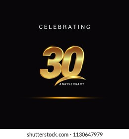 30 Years anniversary celebration golden logotype with swoosh isolated on black background, vector illustration design for greeting card, company event, invitation card, birthday