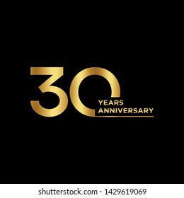 30 years Anniversary Celebration with golden text on dark background, vector template.