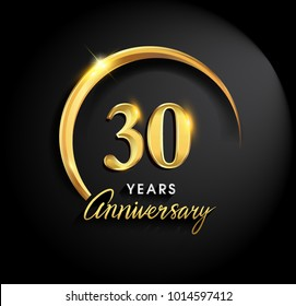 30 years anniversary celebration. Anniversary logo with ring and elegance golden color isolated on black background, vector design for celebration, invitation card, and greeting card