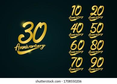 30 Years Anniversary Celebration Logo Vector Template Design Illustration