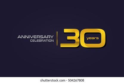 30 Years Anniversary Celebration Logo, Yellow, Isolated on Dark Purple Background