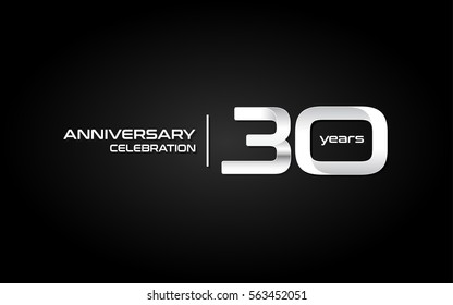 30 Years Anniversary Celebration Logo, White , Isolated on Dark  Background