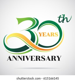 30 years anniversary celebration logo design with decorative ribbon or banner. Happy birthday design of 30th years anniversary celebration.