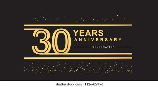 30 years anniversary celebration logotype with golden multiple line and confetti golden color isolated on black background, vector design for greeting card and invitation card