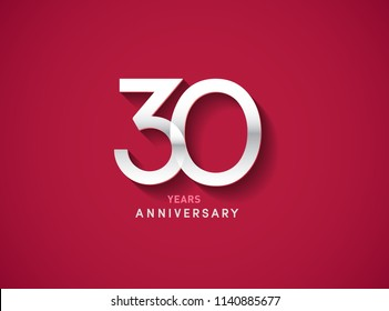 30 years anniversary celebration logotype with silver color isolated on Red background