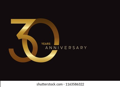 30 years anniversary celebration logotype with elegant gold color for celebration
