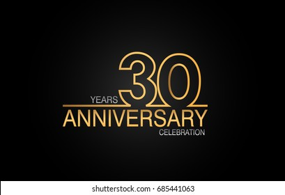 30 years anniversary celebration logotype. anniversary logo with golden and silver color isolated on black background, vector design for celebration, invitation card, and greeting card