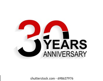 30 years anniversary celebration logotype. anniversary logo with red, white and black color isolated on white background, vector design for celebration, invitation card, and greeting card