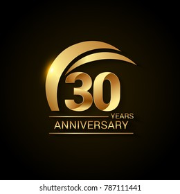 30 Years Anniversary Celebration Logotype. Golden Elegant Vector Illustration  with Gold Swoosh,  Isolated on Black Background can be use for Celebration, Invitation, and Greeting card