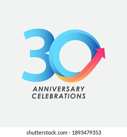 30 Years Anniversary Celebration Number Vector Template Design Illustration