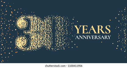 30 years anniversary celebration vector icon, logo. Template horizontal design element with golden glitter stamp for 30th anniversary greeting card