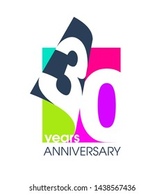 30 years anniversary colored logo isolated on a white background for the celebration of the company. Vector Illustration Design Template