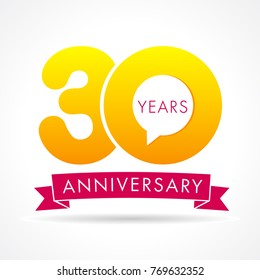 30 years anniversary communication logo. 30th year birthday logotype label, yellow vector number sign and pink ribbon isolated