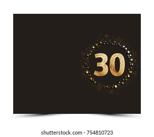 30 years anniversary decorated greeting / invitation card template with gold elements.