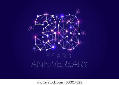 30 years Anniversary design. Abstract form with connected lines and light dots. Vector Illustration