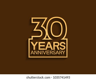 30 years anniversary design line style with square golden color for celebration event