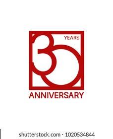 30 years anniversary design logotype with red color in square isolated on white background for celebration