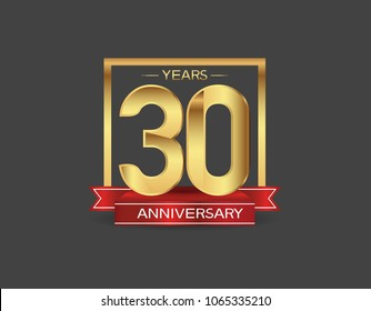 30 years anniversary design logotype golden color with square and red ribbon for celebration event isolated on black background