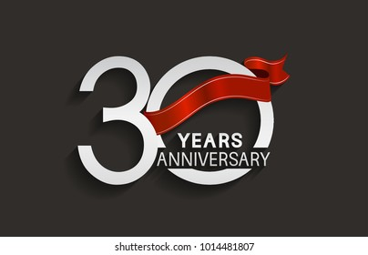 30 years anniversary design with silver color and red ribbon isolated on black background for celebration event