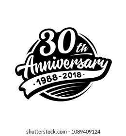 30 years anniversary design template. Vector and illustration. 30th logo.