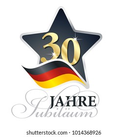 30 years anniversary (German language - 30 Jahre Jubiläum) isolated black star flag logo icon