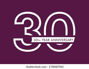 30 years anniversary image vector, 30th anniversary celebration logotype  - Shutterstock ID 1758587963