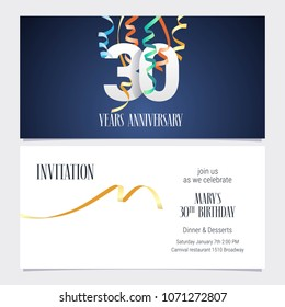 30 years anniversary invitation to celebrate the event vector illustration. Design template element with number and text for 30th birthday card, party invite