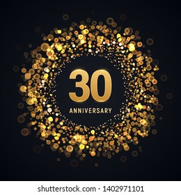 30 years anniversary isolated vector design element. Thirty birthday with blurred light effect