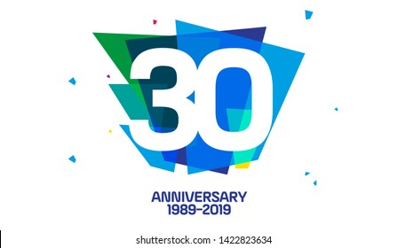 30 years anniversary linked logotype with abstract shapes for company celebration event - vector