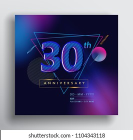 30 Years Anniversary Logo with Colorful Galactic background, Vector Design Template Elements for Invitation Card and Poster Your Birthday Celebration.