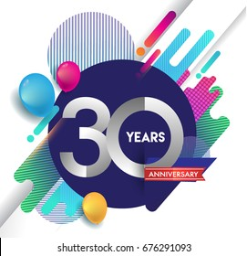 30 years Anniversary logo with colorful abstract background, vector design template elements for invitation card and poster your birthday celebration