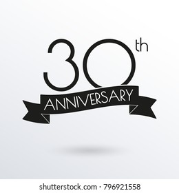 30 years anniversary logo with ribbon. 30th anniversary celebration label. Design element for birthday, invitation, wedding jubilee. Vector illustration.